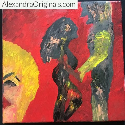 """12"""" x 12"""" thick acrylic one brush application painting - by Alexandra Mayers"""